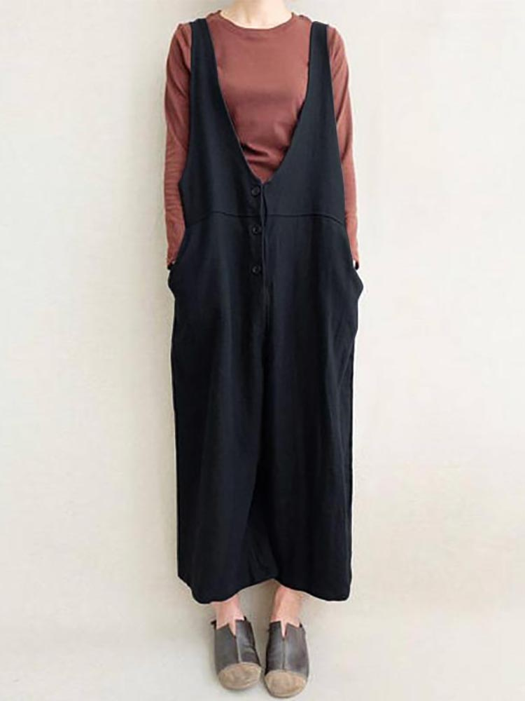 Women Leisure Cotton Jumpsuits Wide Leg Pants
