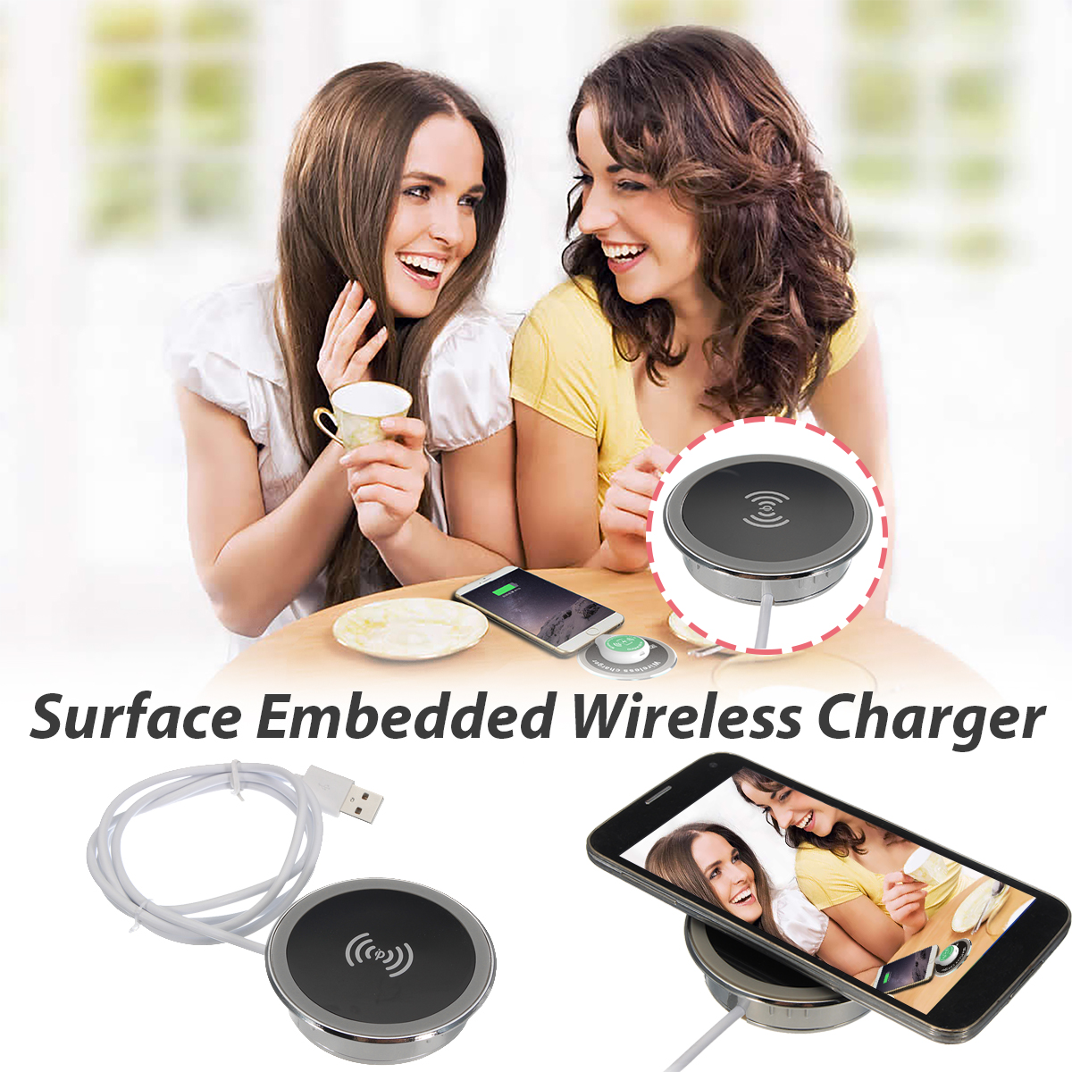 Qi Wireless Embedded Desktop Charger for Samsung Galaxy S7 iPhone X 8 Plus