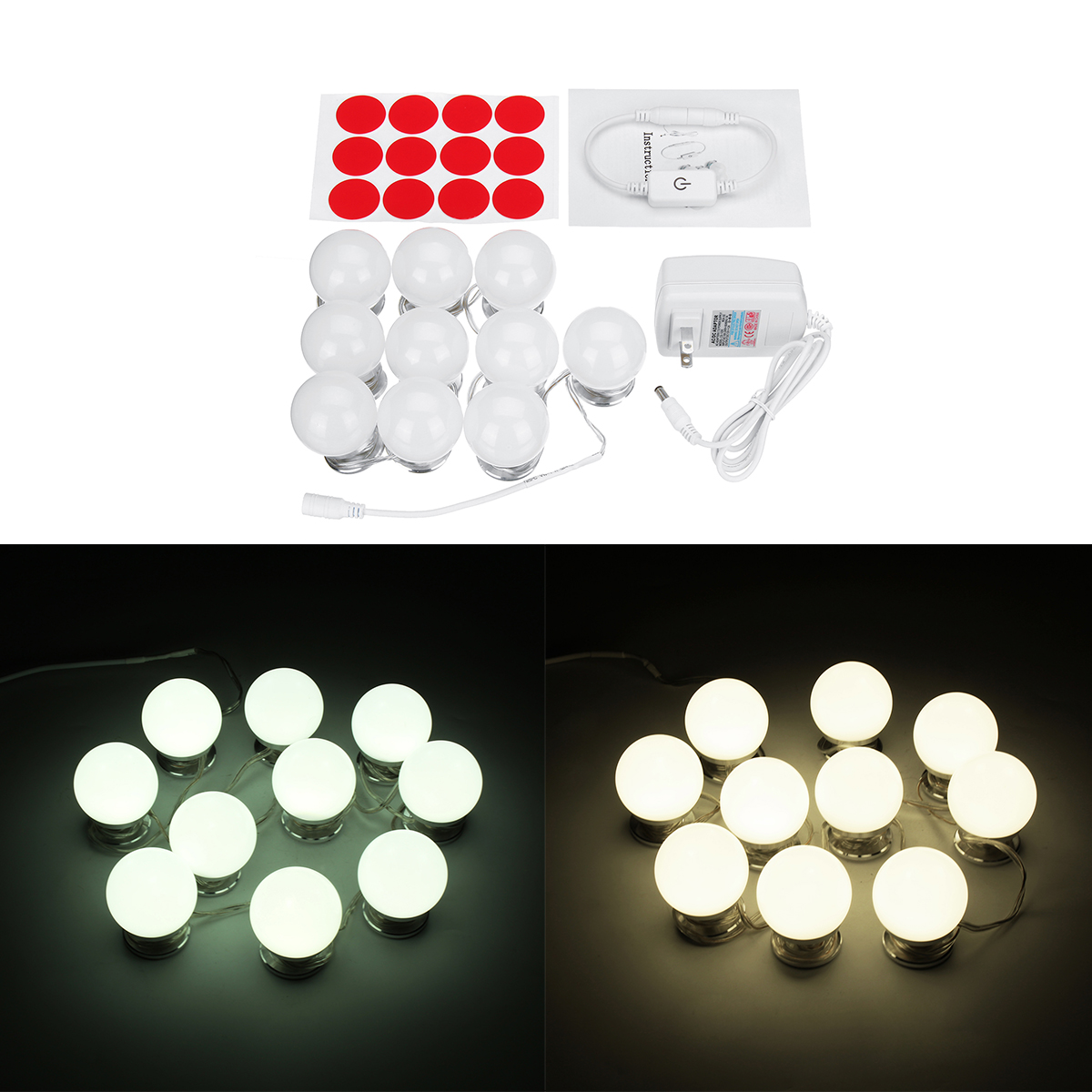 10PCS US Plug Hollywood Style LED Vanity Mirror Makeup Dressing Table Light Kit + Dimmer Controller (Eachine1) Mobile For sale ad