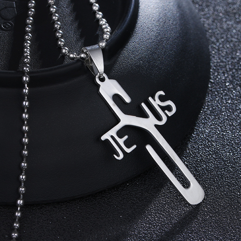 Stainless Steel Necklace Personality Jesus Cross Necklace for Men Women