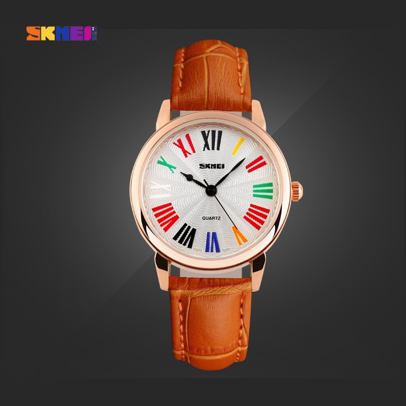 SKMEI 1084 Women PU Leather Band Roman Number Quartz Wrist Watch