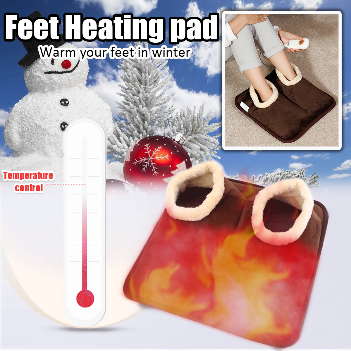 220V Adjustable Electric Foot Warmer Heater Winter Warm Shoes Heating Slippers For Computer Office Sofa