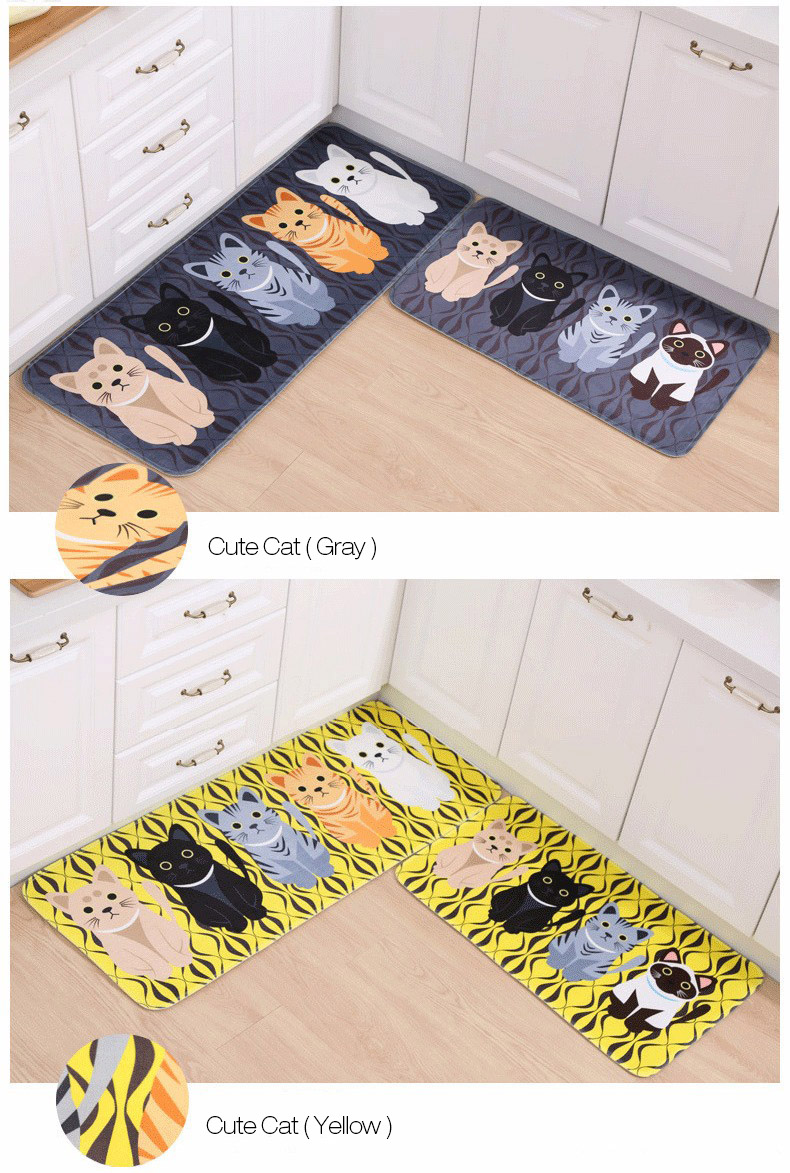 Honana WX-47 Kawaii Floor Mats Animal Cute Cat Bathroom Kitchen Carosets Living Room Anti-Slip Rug