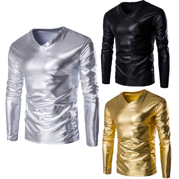 Mens Fashion Causl V-neck Solid Color Slim Fit Glossy Shiny Costumes Long Sleeve T-shirt