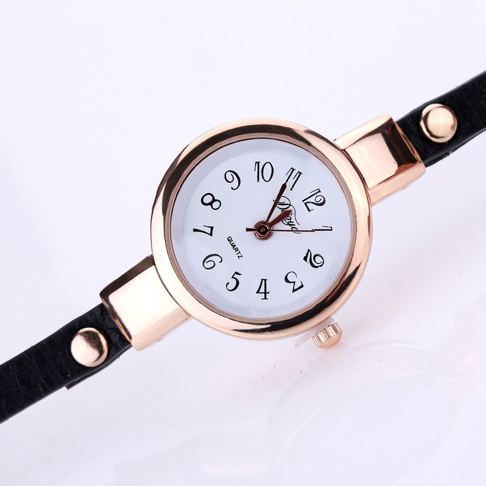 DUOYA XR1856 Gold Eye Gemstone Leather Strap Bracelet Watch