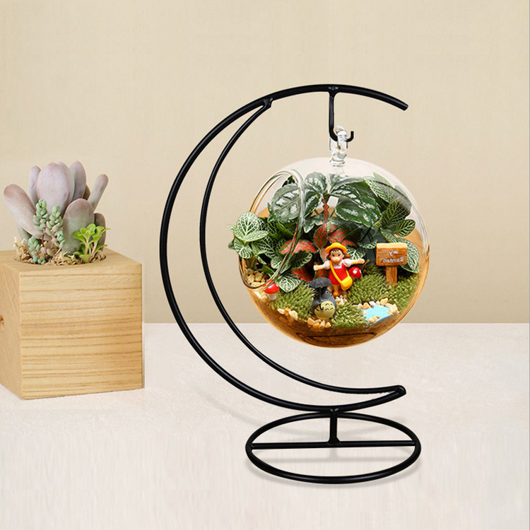 Micro Landscape Moon Shape Iron Holder Suspension Glass Vase Black Rack