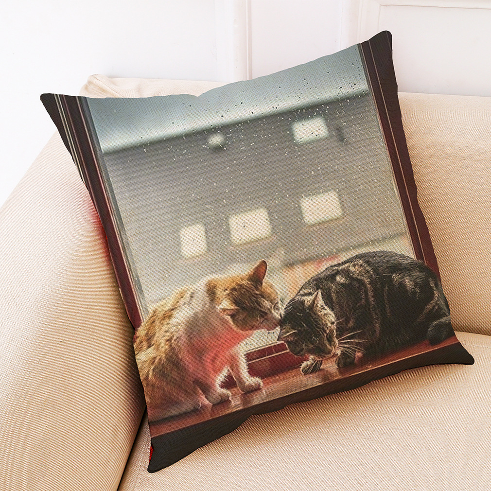 Honana BX 45x45cm Cat Pattern Luxury Cushion Cover Graffi Style Throw Pillow Case Pillow Covers