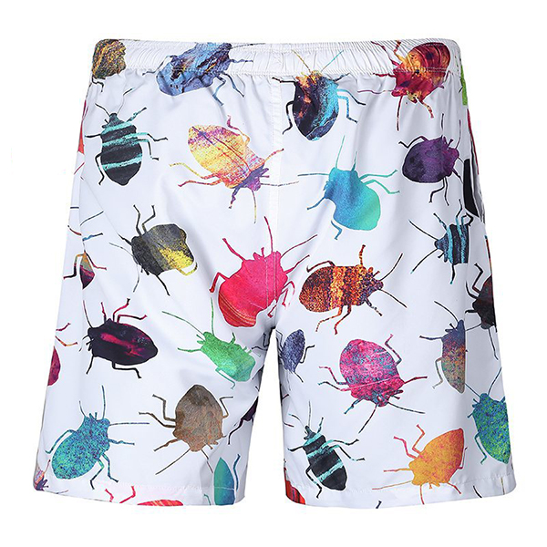 Mens Quick Drying Printing Beach Swimming Surf Shorts Personality Loose Fit Casual Knee Length