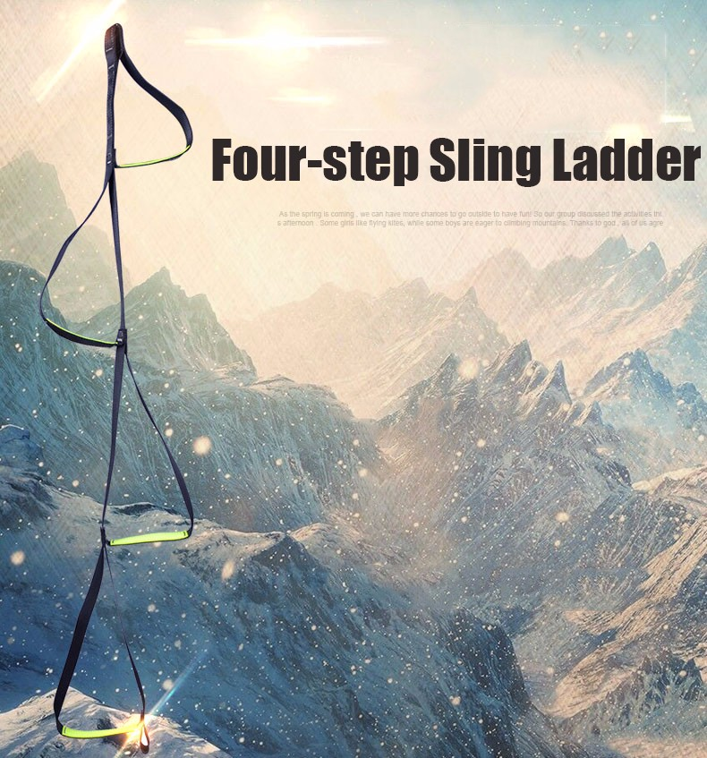 XINDA 9315 Outdoor Rock Climbing Four-step Etrier Rise Rope Ladders Ascending Sling Accessory