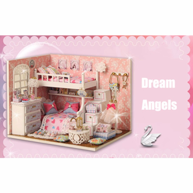 Cuteroom DIY Wood Dollhouse Kit Miniature With Furniture Doll House Room Angel Dream