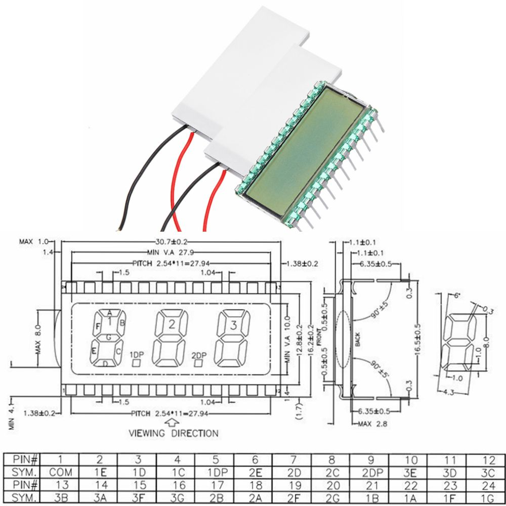 EDS812 5V 3 Bit 8 Characters LCD Display Module Digit Clock LCD Screen No Backlight/White/Yellow-green