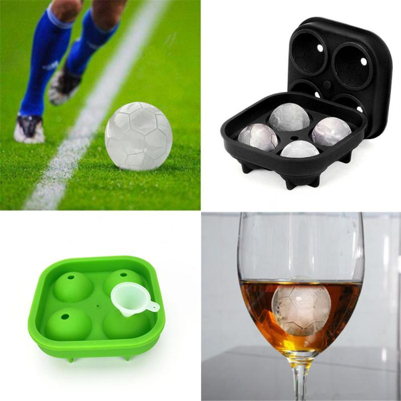 1PC Football Series 4 Compartments Ice Mold Shape Tray Shape 3D Ice Cube Mold Silicone Maker Summer 3D Ice Cube Mold Whiskey Ice Mold