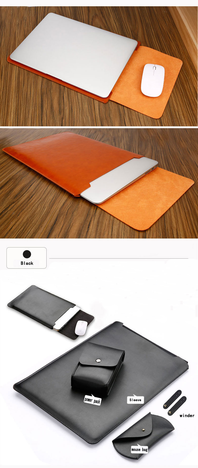 1 Set Waterproof Notebook Sleeve 15.6 inch PU Leather Laptop Bag Case Cover For Xiaomi Air Notebook