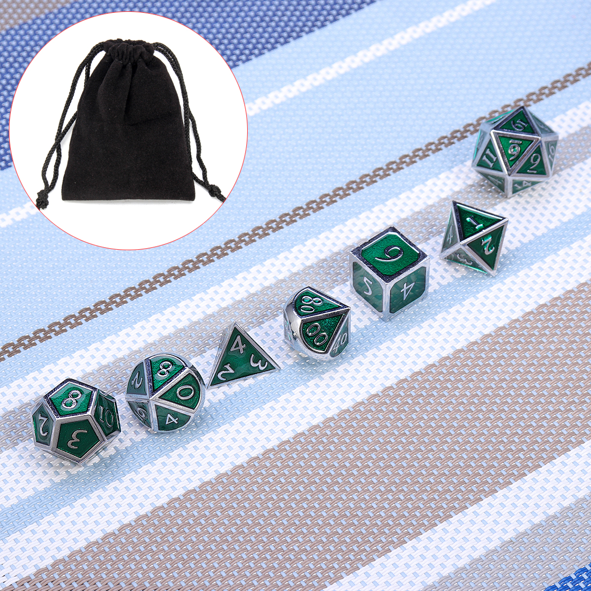 Zinc Alloy Metal Polyhedral Dice Silver Border Green Enamel Body Role Playing Game Dice Gadget RPG