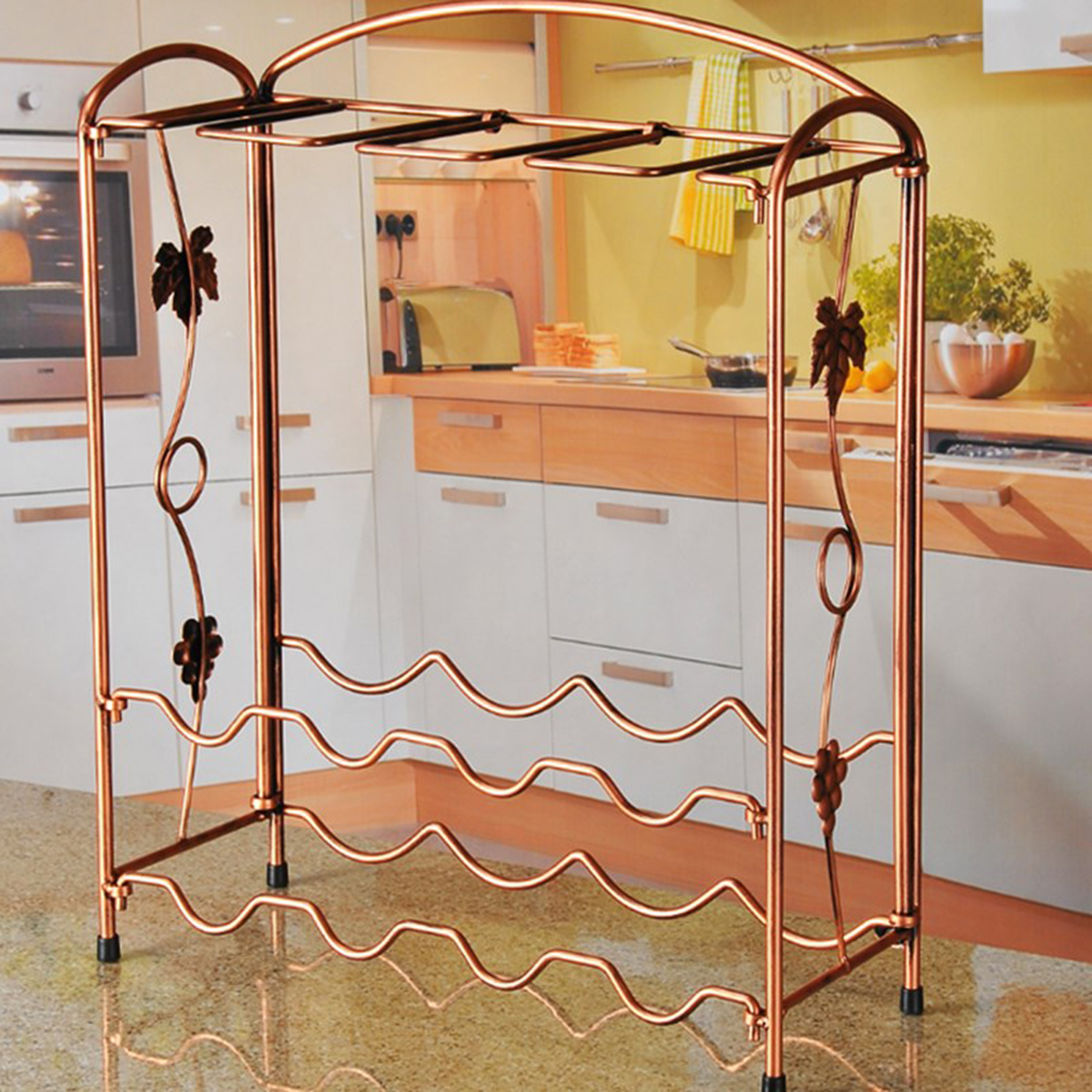 Metal Iron Wine Bottle Rack Goblet Glass Holder Storage Table Top Stand Kitchen Bar Organizer