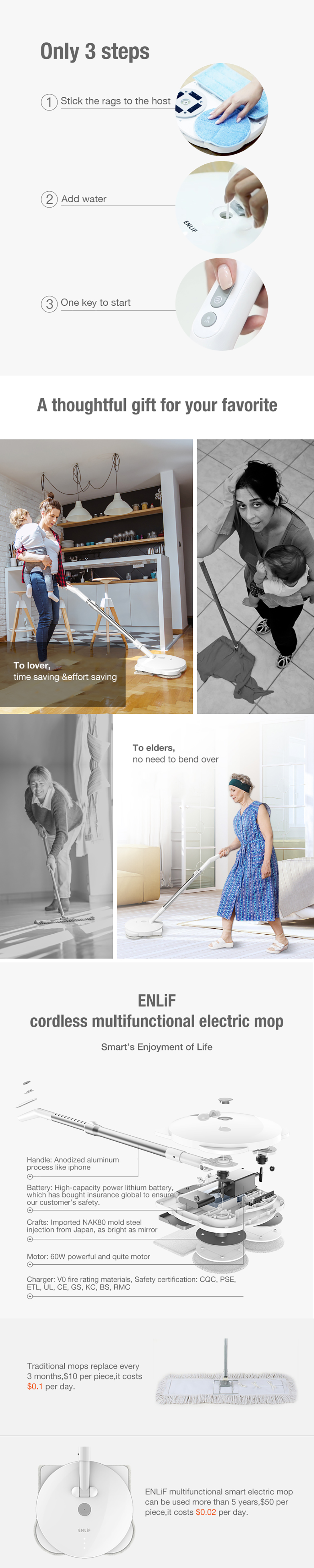ENLiF F1 Electric Wireless Spin Spray Pet Mop Vacuum Cleaner Cordless Rechargeable Lightweight Cleaner Electronic Floor Sweeper and Mop