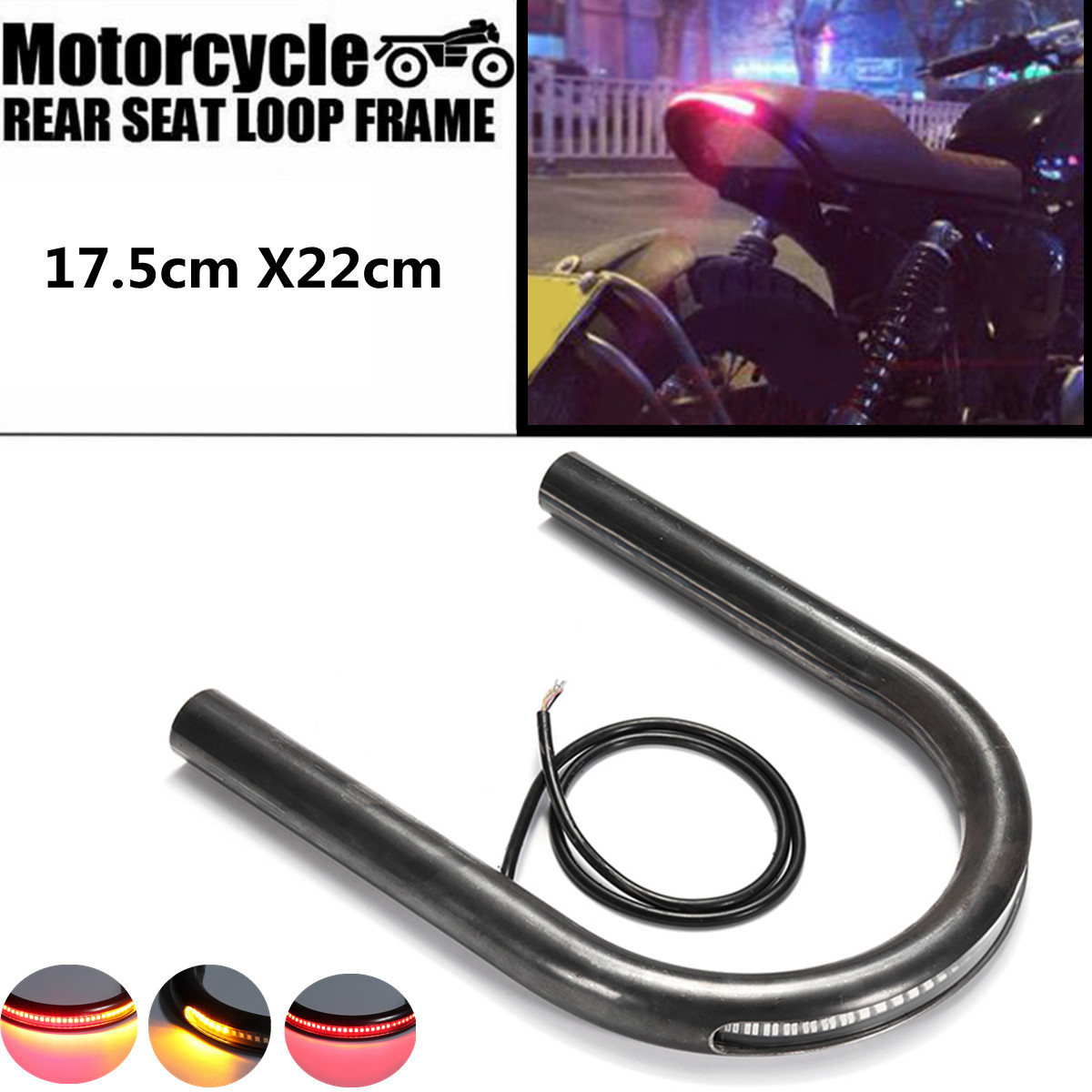 Cafe Racer Frame Hoop Tracker End Flat Seat Loop With LED Turn Brake Light