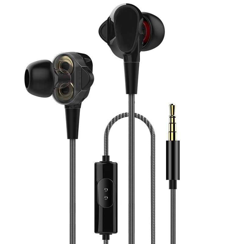Dual Driver HIFI Wired In-ear Earphone with Microphone Line Control