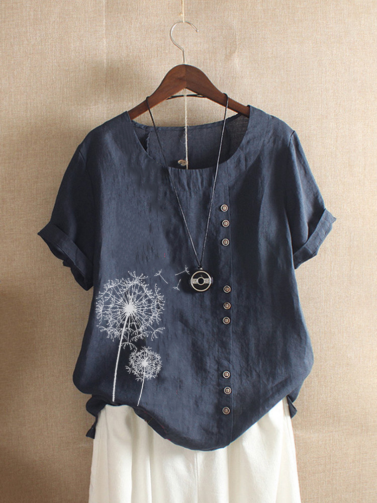 Vintage Short Sleeve O-neck Floral Print Button T-Shirt
