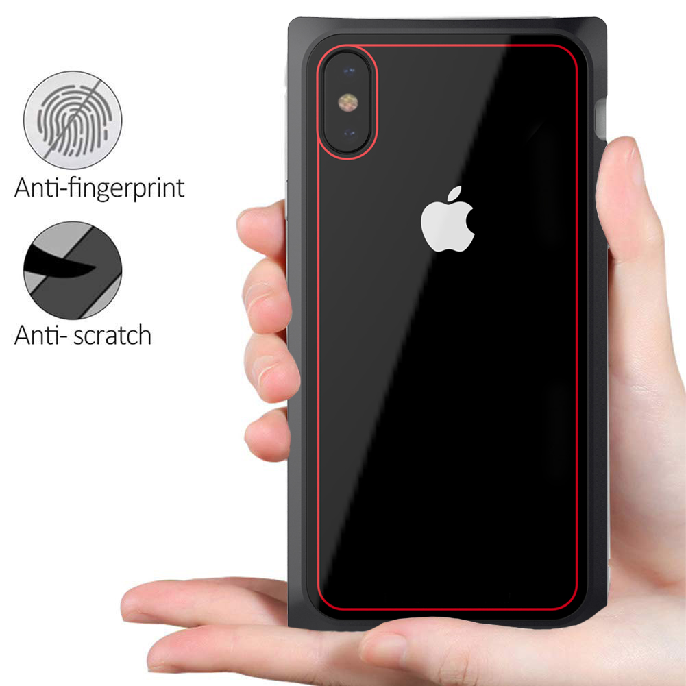 Bakeey Square Magnetic Adsorption Aluminum Alloy+Clear Tempered Glass Protective Case For iPhone X/8/8 Plus/7/7 Plus