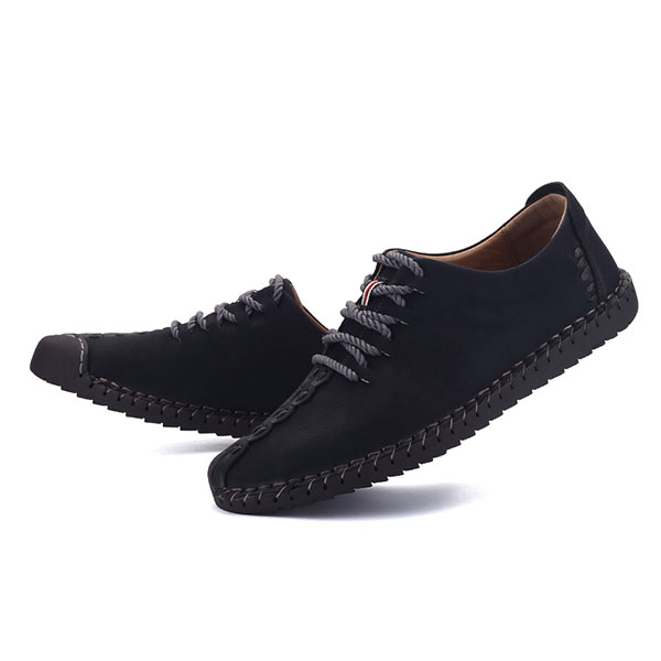 Menico Hand Stitching Soft Sole Casual Lace Up Oxfords Shoes