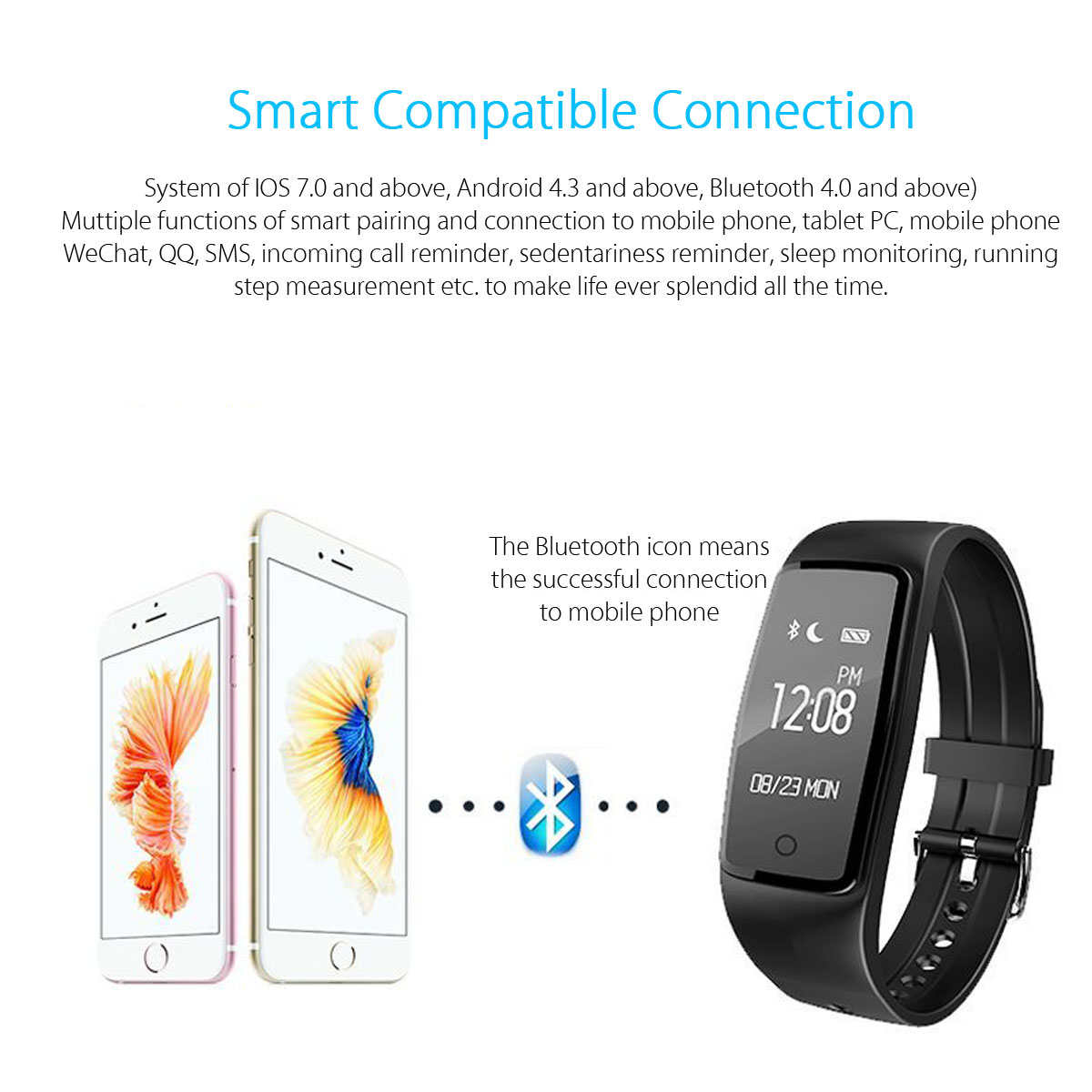 S1 0.96inch Waterproof Heart Rate Monitor Pedometer Sport Smart Bracelet For iphone7 Letv Samsung S8