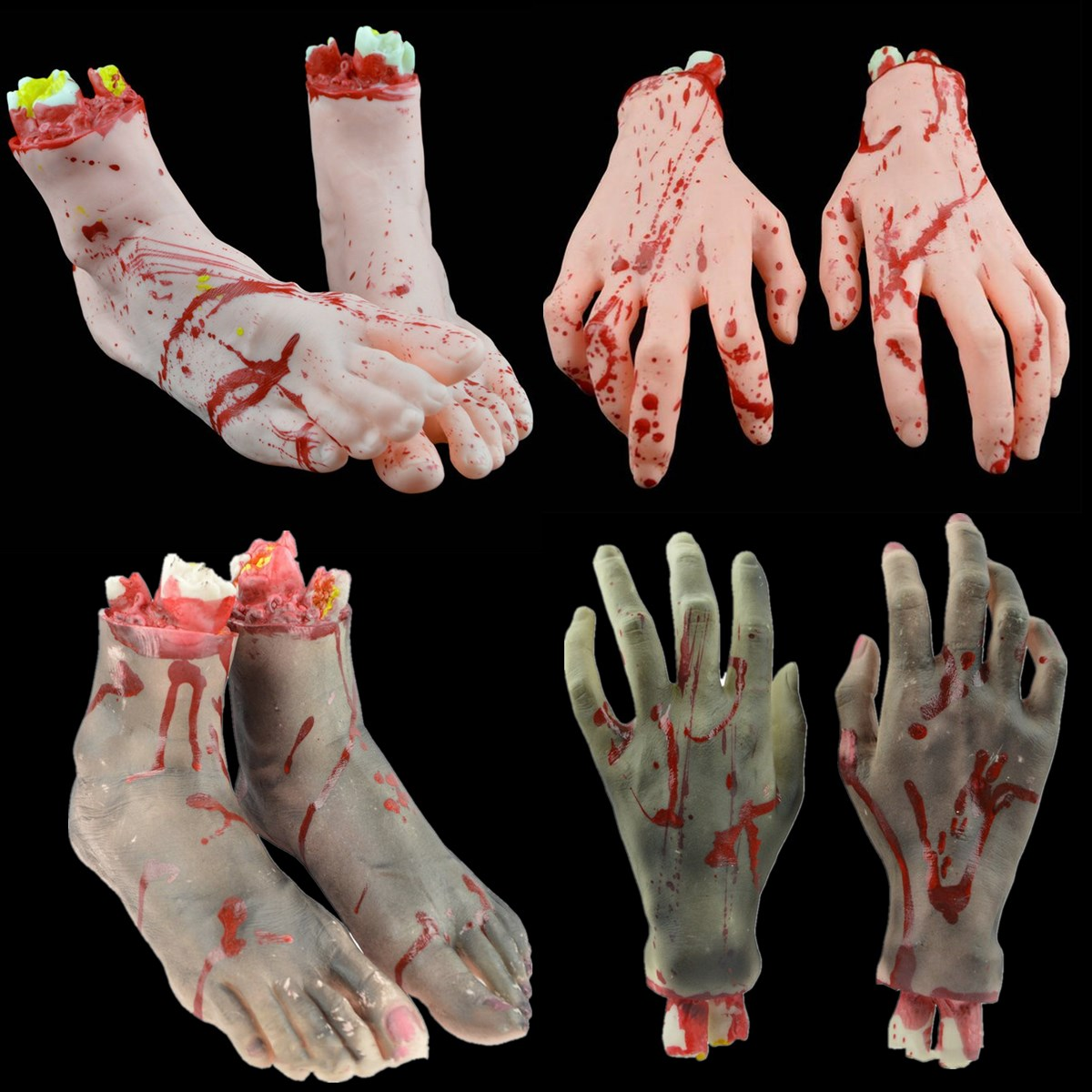 Halloween Decorations Latex Fake Feet 1Pair Blood Horror Scary Broken Feet Hand