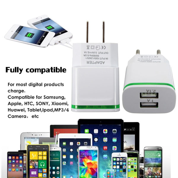Universal Mini USB Dual Ports Wall Chargers Power Adapter for Tablet Cell Phone