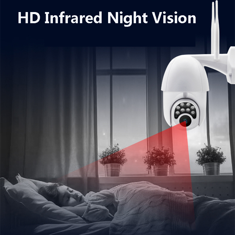 Wifi HD 1080P IP Camera 8 LEDS Infrared 6x Zoom Outdoor Camera Full-Color Night Vision Surveillance Camera Waterproof PTZ Rotation