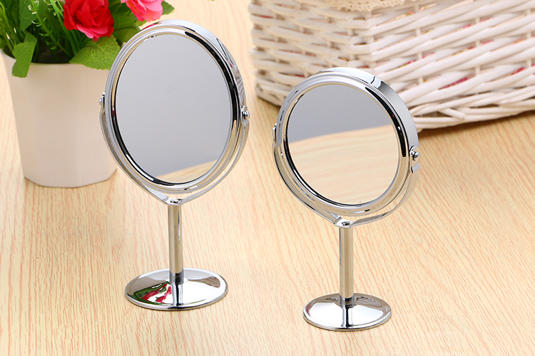 Honana BX-090 Bathroom Mirror Rotatable Double Sided Round Oval Shape Stand Circular Makeup Mirror