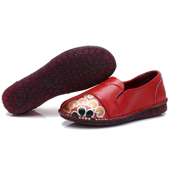Leather Handmade Flat Loafers For Wom