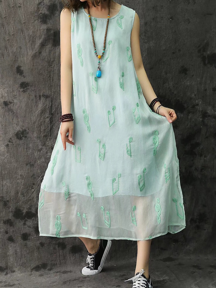 Women Embroidery Sleeveless Two Layers Side Split Dress