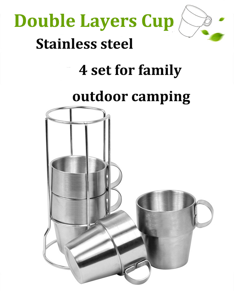 4 PCS Outdoor Portable Picnic Cups Stainless Steel Drinking Mugs Anti-Hot Tea Coffee Cup Set