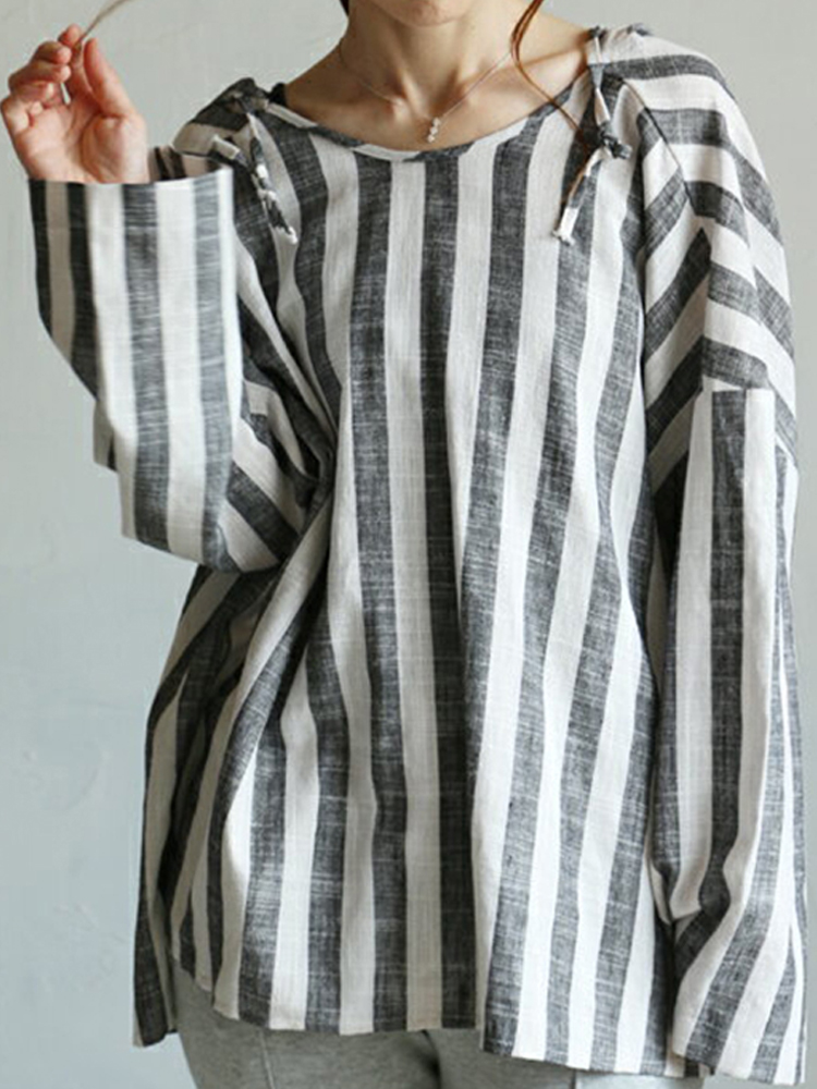 Women Long Sleeve Stripe Hooded Loose Casual Blouse