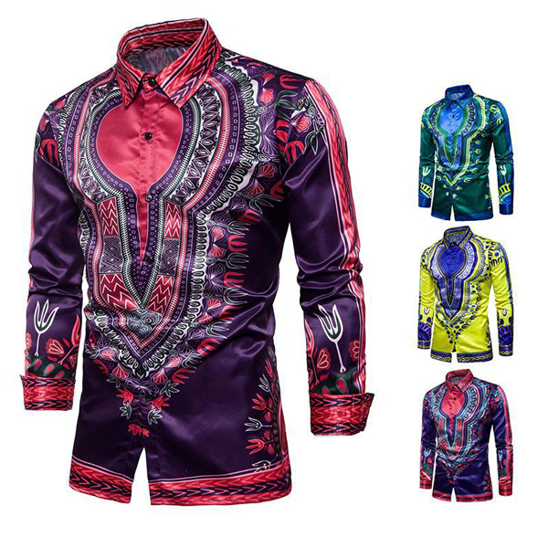 Mens Fashion National Style Printing Long Sleeve Shirts