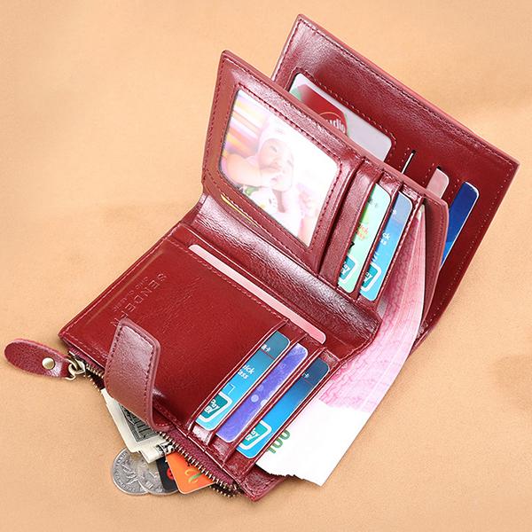 Women Bifold Vintage Genuine Leather Short Wallet 11 Card Slots Card Holder Coin Purse