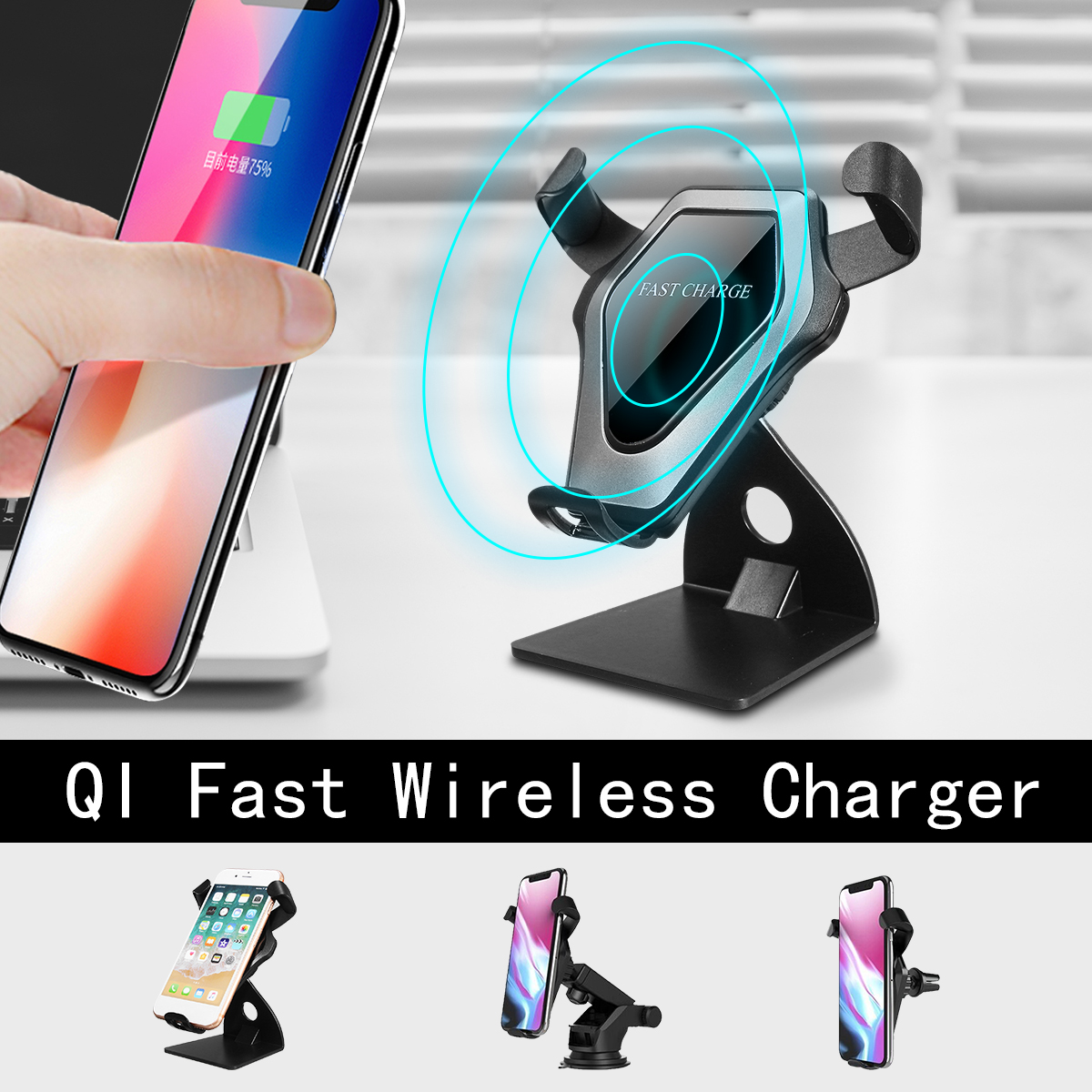 Car Air Vent Wireless Qi Standard Charger Desktop Adjustable Angle for iPhone X