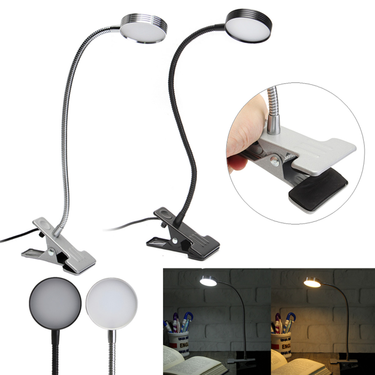 5W Flexiable USB Clip-On LED Table Desktop Light Bedside Laptop Bed Reading Lamp