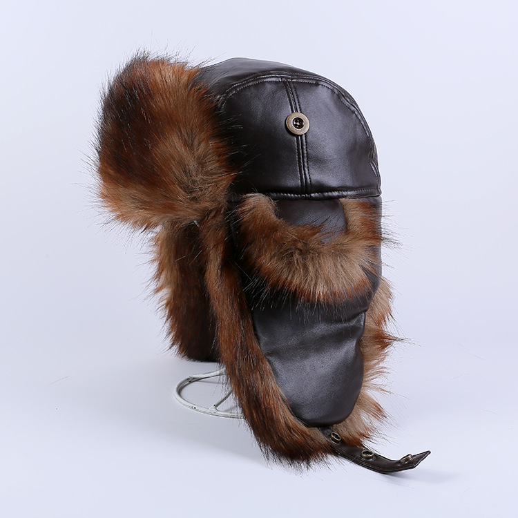 Unisex Winter Warm High-End Leather Trapper Hat Savage Cap