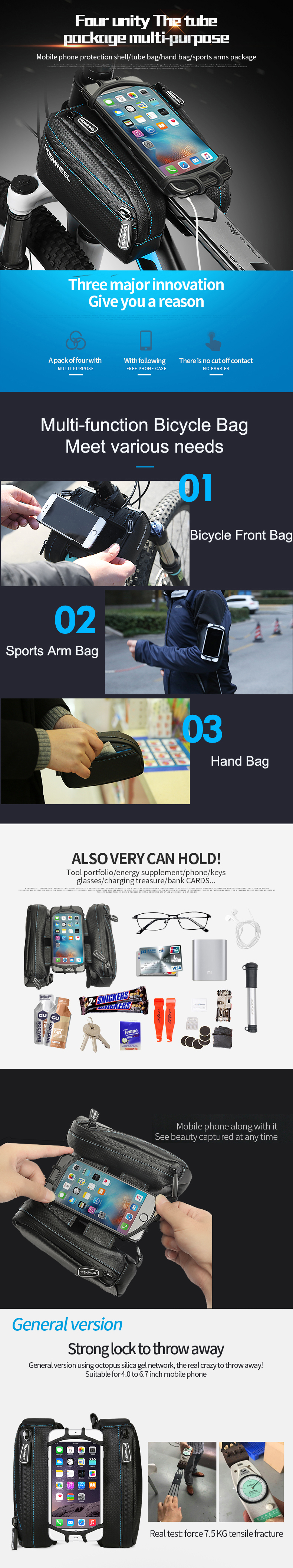 ROSWHEEL Waterproof Bicycle Front Tube Double Pouch Bags with 4.7-6.0 inch Phone Case for iPhone7 6 6s plus Samsun Huawei