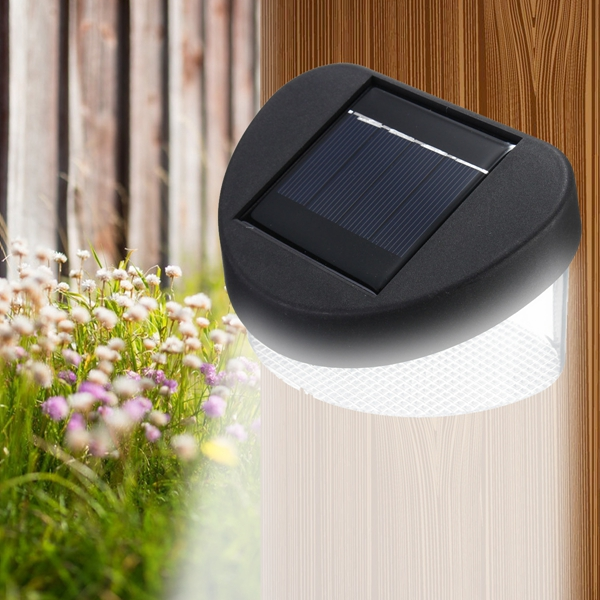 Solar Power 8 LED Wall Light Outdoor Waterproof IP65 Garden Fence Lamp