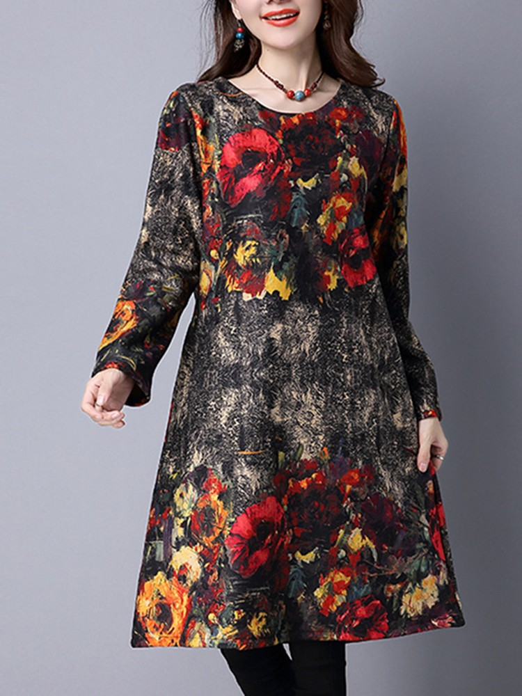 Vintage Floral Printing Long Sleeve Thick Velvet Loose Women Dress