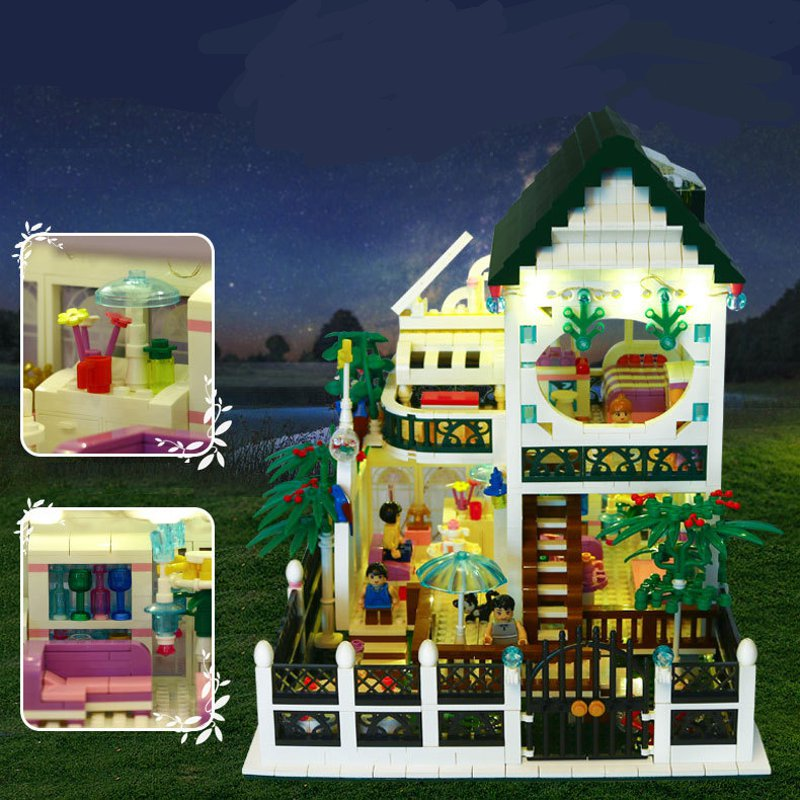 Romantic Room With LED light USB Recharge Building Blocks Educational Toys Children Gifts 1500Pcs