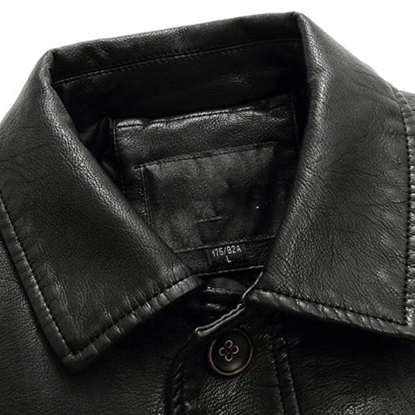 Plus Thick Single-breasted Faux Leather PU Casual Blazers
