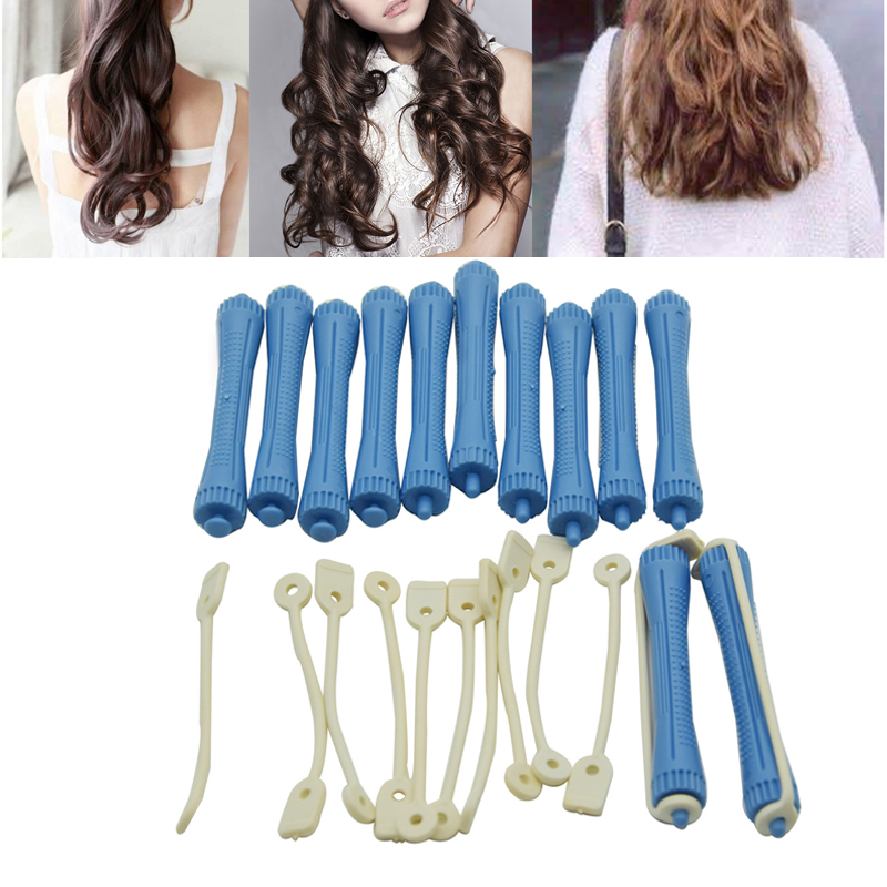 12Pcs Plastic Hair Wave Curlers Roller Cool Hair Perm Rods With Rubber Bands Hollow Core Rod Hairdressing Tool