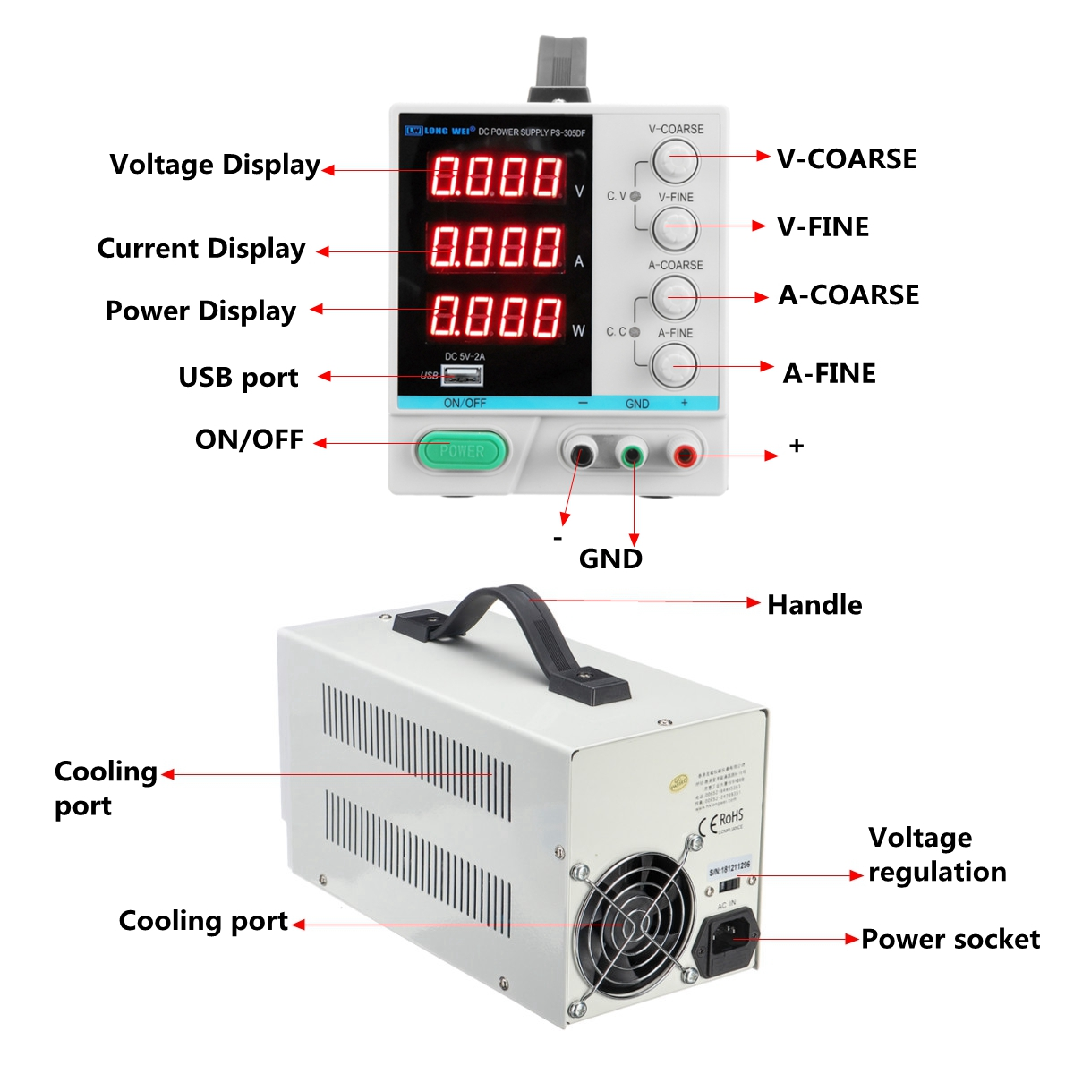 LONG WEI PS-305DF 0.01 Accuracy 110V/220V 30V 5A Adjustable DC Power Supply Switching Regulated Power Supply W/ 5V 2A USB