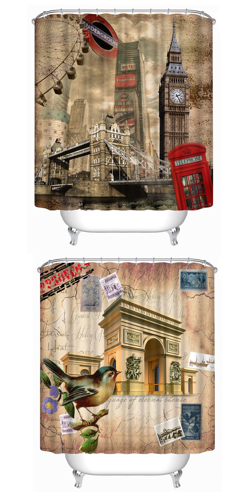 72x72 Creative Inch Completely Polyester Colormix Blood Series Shower Curtains with 12 Rings