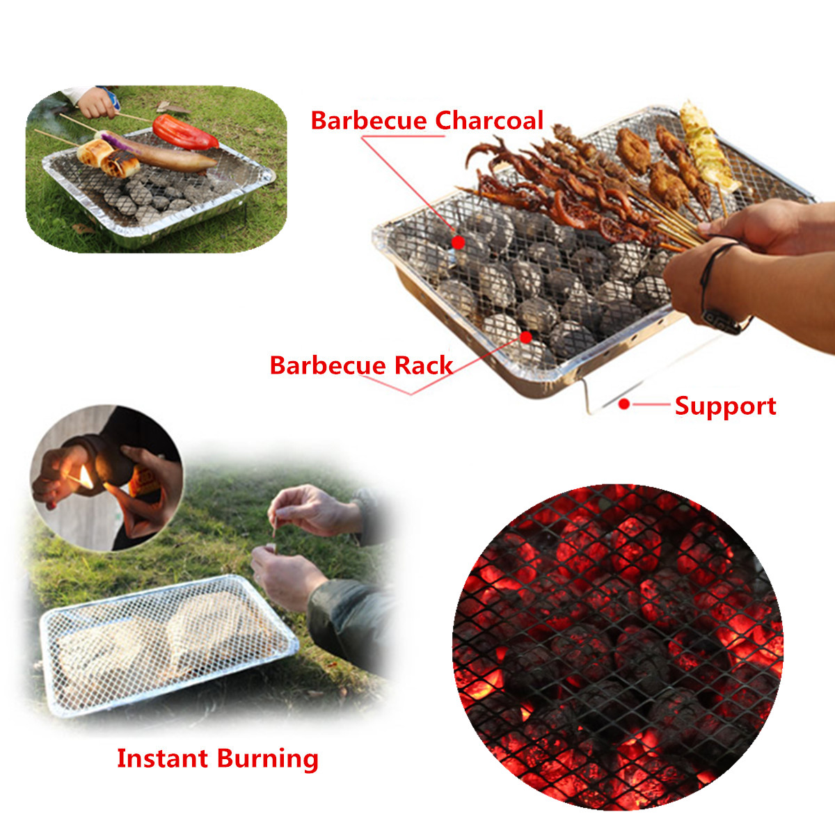 Outdoor Instant Disposable BBQ Barbecue Grill Camping Picnic with Charcoal Coal