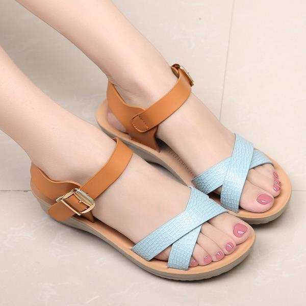 Casual Soft Leather Comfy Sandals Beach Breathable Buckle Peep Toe Sandals