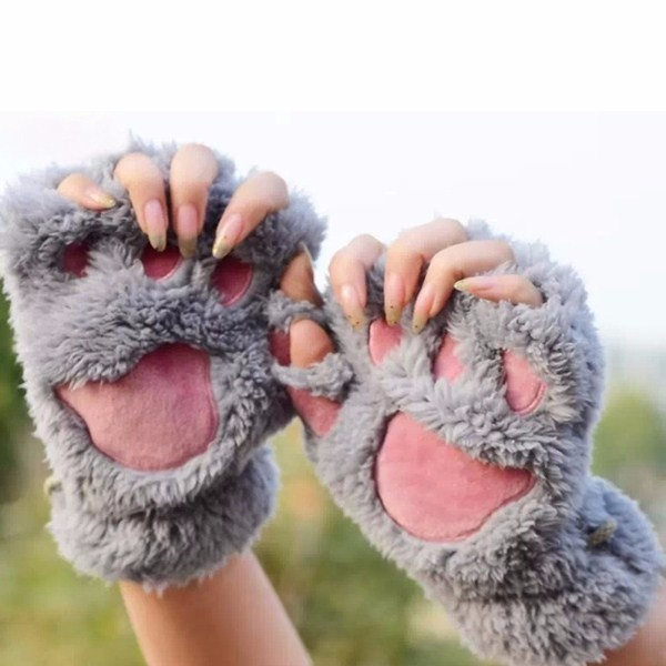 Women Girls Fluffy Plush Bear Cat Paw Fingerless Gloves Paw Glove Winter Warm Mittens